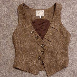 Sweet by Miss Me Tweed Brown Shimmer vest SM